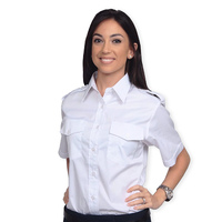 Van Heusen Ladies Aviator Shirt - Short Sleeve (White)