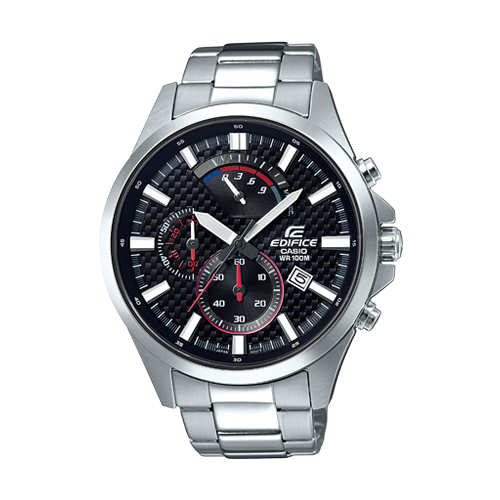 Edifice Chronograph Watch, Black Three Tone Face with Stainless Steel Band EFV530D-1A